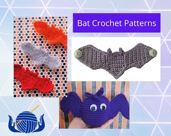 Halloween Crochet Patterns, Bat Crochet Pattern Bundle, Halloween Bats