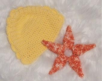 Starfish Baby Rattle, Handmade Crochet, Baby Shower Gift