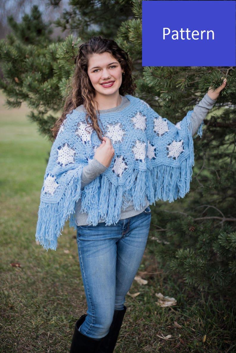 Snowflake Poncho Crochet Pattern, Girls' Size 8/10, Girls' Size 12/14, and  Ladies' Size Medium