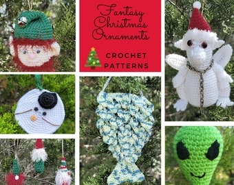 Crochet Pattern Bundle, Christmas Ornament Crochet Patterns, Unique Christmas Decor