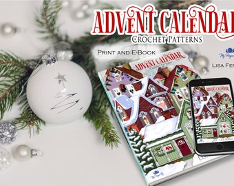 Crochet Pattern Book Advent Calendar Christmas Ornaments, Christmas Crochet, Gifts for Her