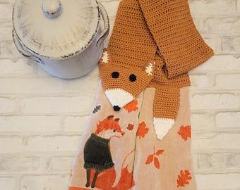 Kitchen Boa, Handmade Crochet, Fox Kitchen Towel, Fall Kitchen Decor