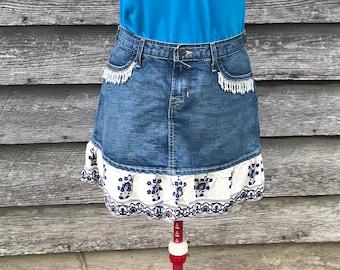 Upcycled Von Dutch Sz Med Denim Jean Skirt with Flounce and Beaded Flower Applique Embellishment Boho Gypsy Festival Langenlook OOAK