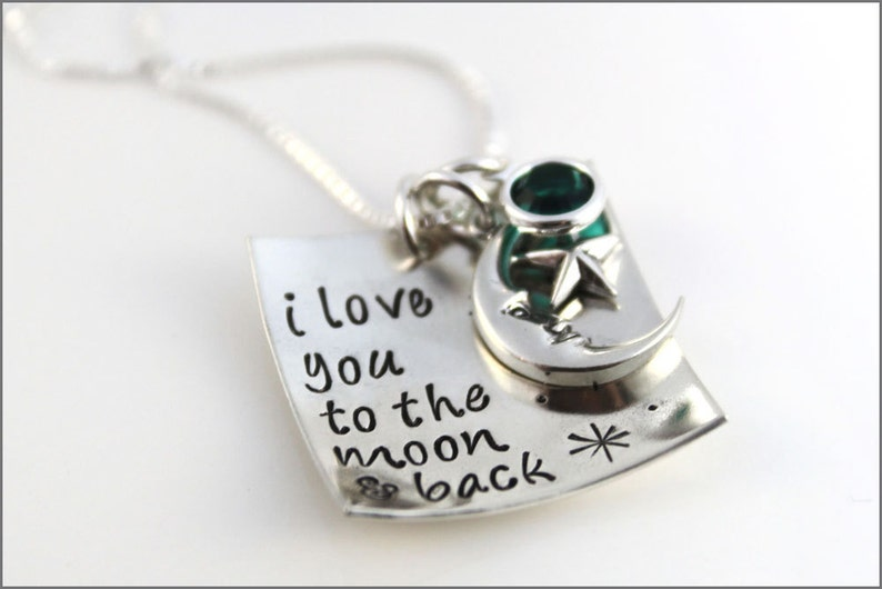 30272fe890 I Love You to the Moon and Back Necklace Sterling Silver   Etsy