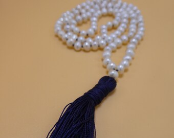 Pearl Mala, Pearl Prayer Beads, Mala, Pearl Beads, Prayer Beads, Yoga Mala, 5mm, Mediation Mala, Pearl Necklace, Knotted, Japa Mala, PTNB5