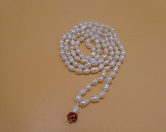 Pearl Mala, Pearl Prayer Beads, Mala, Pearl Beads, Prayer Beads, Yoga Mala, Mediation Mala, Pearl Necklace, Knotted, Japa Mala, PM4