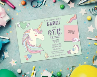 Unicorn Birthday Invitation - 5 x 7 or 4 x 6 - Digital Download PDF