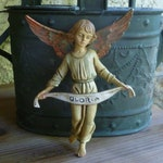 Vintage Hanging Angel Figurine with Gloria Banner. Fontanini or Simonetti Style. Made in Italy. Christmas Decoration. Nativity Angel Figure.