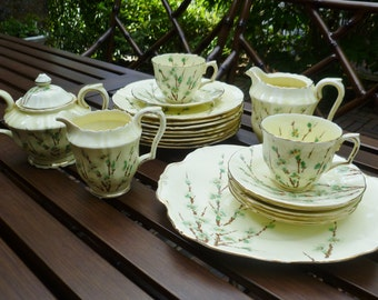 Crown Staffordshire Bone China Set. Cherry Blossoms Branches. Plates Cups Saucers Sugar Bowl Creamer Pitcher. Vintage 1930s. Cottage, Asian.