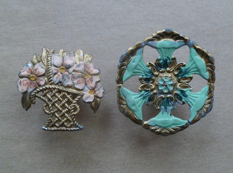 Schieben Sie Die Pins Gr U00fcn Rosa Gold Metall Jahrgang 1950s