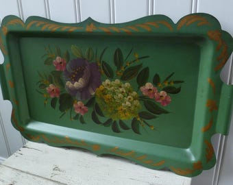 Tole Tray, Metal, Hand Painted Flowers. Vintage 1950s. Green Blue. Scalloped Edge Handles. Roses Hydrangeas. Cottage Shabby Chic Wall Decor.