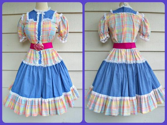 Plaid Patio Dress - M -  Bright Pastel  Plaid Tier