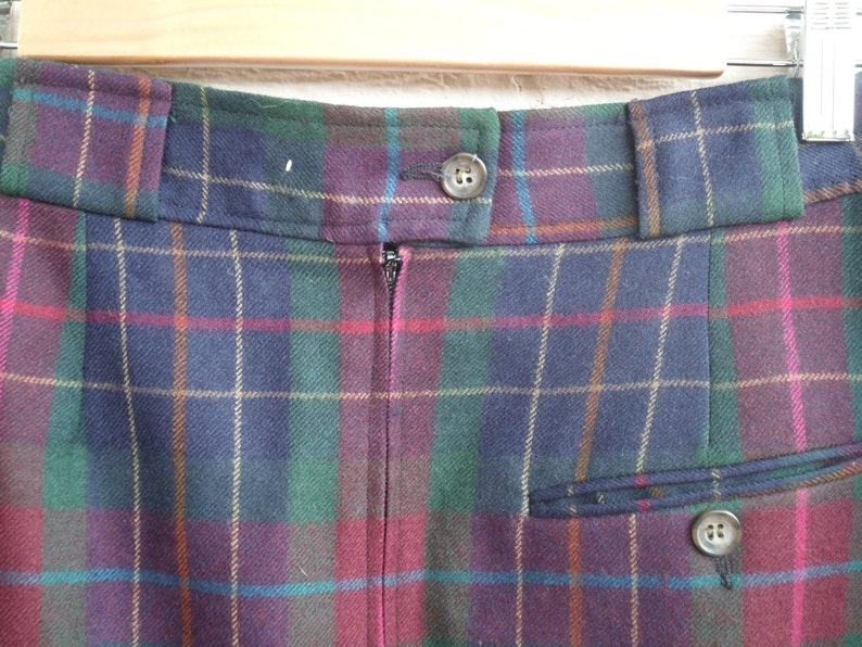 Multicolored Plaid Green Teal Gold Tan Fuchsia Cranberry Navy S Vintage Nordstrom Wool Skirt