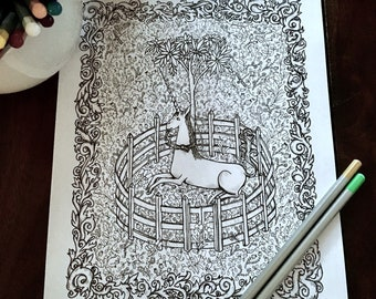 Unicorn Adult Coloring Page - Medieval Tapestry - Flower Leaf Scroll Illustration - Kids Activity - Magical