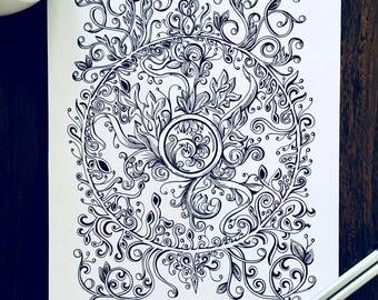 Adult Coloring Vine Page - Swirl Design - Original Nature Art - Leaf Illustration - Kids Activity