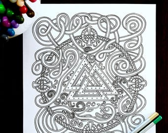 Adult Coloring Page Norse Serpent Valknut Design Original Art Viking