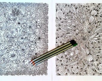 Adult Kids Detailed Coloring Page Set of Two Original Floral Nature Art Hidden Creatures