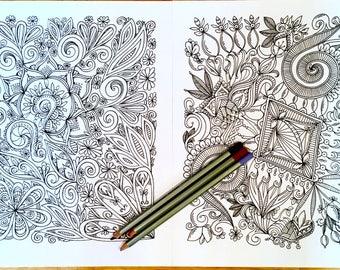 Kids Adult Nature Coloring Page Set of Two Original Geometric Art Design