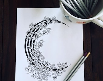 Crescent Moon Adult Coloring Page - Stripes and Vines - Floral Design Illustration - Kids Activity - Magic