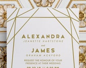 Modern Geometric Wedding Invitations in Gold Foil Print or Gold Standard Ink, for Gold Theme Wedding, Modern Wedding or Sophisticated Event