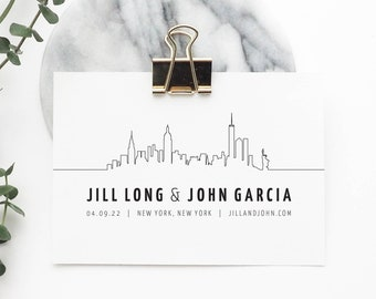New York Wedding Save the Date With New York Skyline or Manhattan Skyline, Perfect for a New York Party or New York City Reception PRINTED