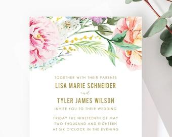 Boho Wedding Invitations, Bohemian Wedding invitations, Rustic Wedding Invitation, Floral, Watercolor Wedding invites PRINTABLE FILES