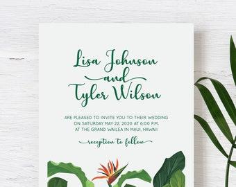 Tropical Wedding Invitation for Destination Wedding, Beach Wedding or Island Wedding in Mexico, Hawaii, Fiji, or Florida. SAMPLE SET