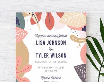 Modern Tropical Wedding Invitation for  Beach Wedding, Destination Wedding, Hawaiian Wedding, Fiji Wedding, or Island Wedding PRINTABLE FILE