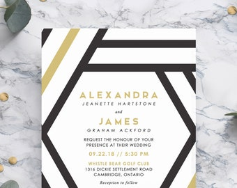 Black and Gold Geometric Wedding Invitation Printable. Optional RSVP Card, Details Card, Reception Card. JPEG or PDF. Also Available Printed