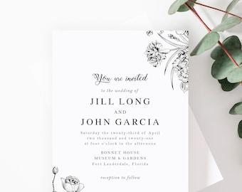 Wildflowers Wedding Invitation Suite Perfect for Garden Wedding, Spring Wedding or Outdoor Wedding. PRINTED SAMPLE SET