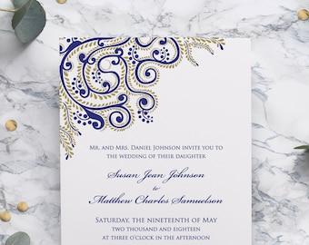 Hindu Wedding Invitation, Sikh Wedding Invite, or Bengali Wedding Cards for Indian wedding, Sangeet Ceremony, Mehendi Party, Vidhi PRINTABLE