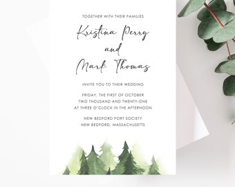 Printable Mountain Wedding Invitations With Watercolor Trees for Rustic Wedding, Lake Wedding, Camping Wedding