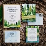 Rustic Wedding Invitation, Watercolor Wedding Invitation, Mountain Wedding Invitation, Woodland, Tree, Green, Camping, Wedding Invitations