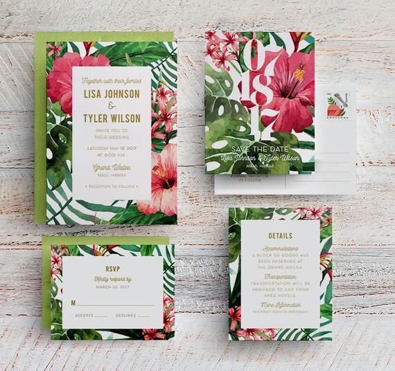 Tropical Wedding Invitations: Tropical Wedding Invitations Hawaii Wedding Invite Beach