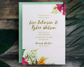 Tropical Wedding Invitations, Hawaii Wedding Invitations, Beach Wedding Invitations, Maui Wedding, Destination Wedding Invite