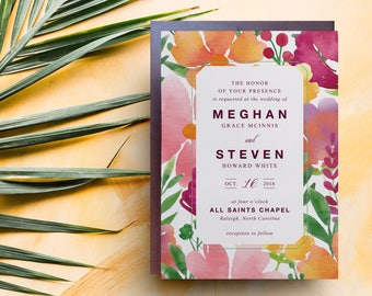 mexico wedding invitation, watercolor tropical wedding invitation, jamaica wedding invitations, fiji wedding invitations, bahamas wedding