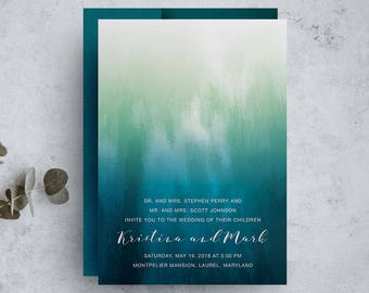 blue watercolor wedding invitation, rustic invite set, diy rustic wedding invitation, bohemian rustic wedding invitations, save the dates