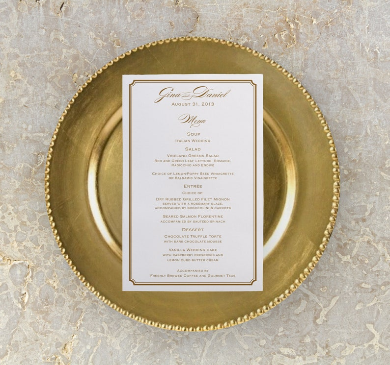 Simple Gold Wedding Menu Printable Menu Reception Menu image 0