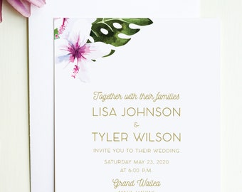 Tropical Wedding Invitation or Destination Wedding Invite for Beach Wedding, Hawaii Wedding, Luau Party, or Tropical Themed Event