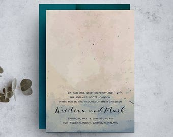 navy wedding invitation, watercolor invitation, blue and blush invite, bohemian wedding invitations, save the dates, modern wedding