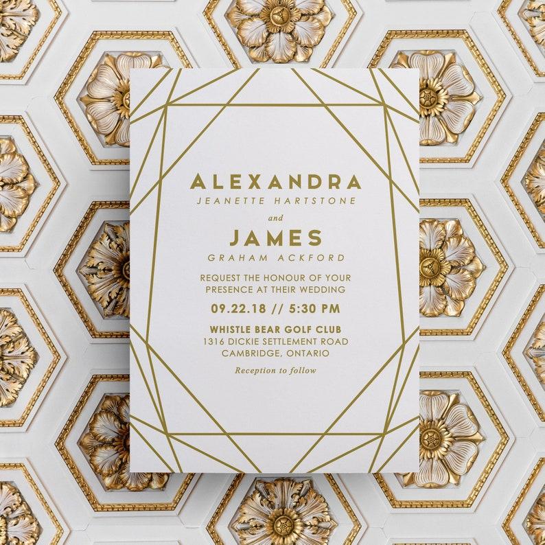 Gold Wedding Invitation Modern Wedding Invitation Geometric image 0