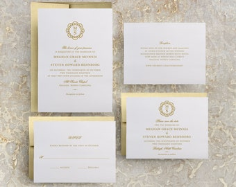 Gold Monogram Wedding Invitation, Gold Invitations, Gold Theme, Simple Gold Invitation, Wedding Invites, Gold Foil, Foil Stamped, Menus