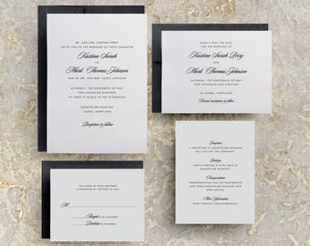 Simple Wedding Invitation, Printed Wedding Invitations, Black and White, Black Tie, Wedding Invite, Invitation Suite, Invitation Set