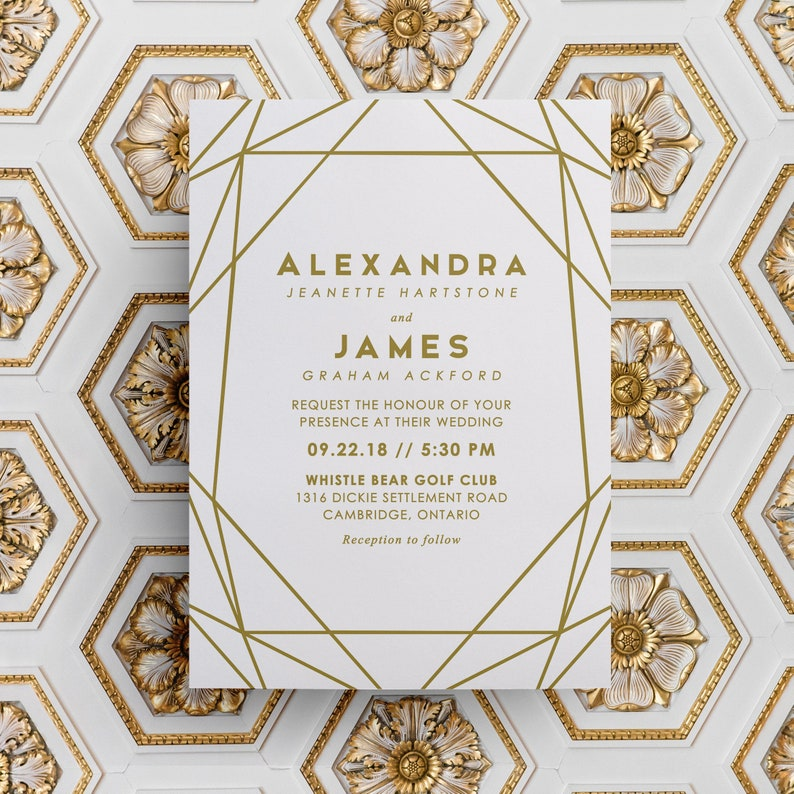 Gold Geometric Wedding Invitations Geometric Wedding image 0