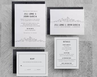Seattle Wedding Invitation, Seattle Skyline Invitation, Seattle Invitation, Seattle Invite, Chicago, Denver, DC, New York, Las Vegas