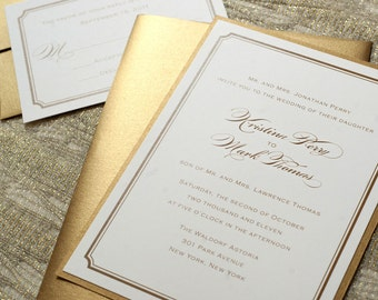 elegant gold wedding invitations, modern script wedding invitations, formal gold wedding invites, gold wedding save the dates