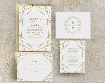 Gold Geometric Wedding Invitation, Gold Wedding, Gold Invites, Modern, Geometric Invitations, Geometric Invites, Gold Geometric