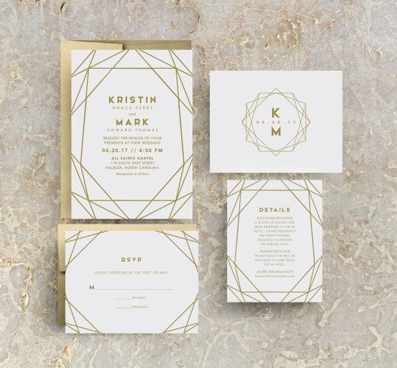 modern wedding invitation gold invitation gold wedding etsy