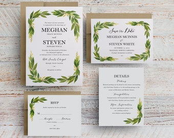 watercolor greenery wedding invitations, wedding programs, greenery invitation templates, menu card for wedding reception template