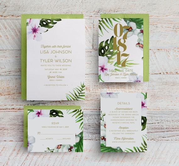 Wedding Invitations Hawaii: Tropical Wedding Invitations Hawaii Wedding Invitations